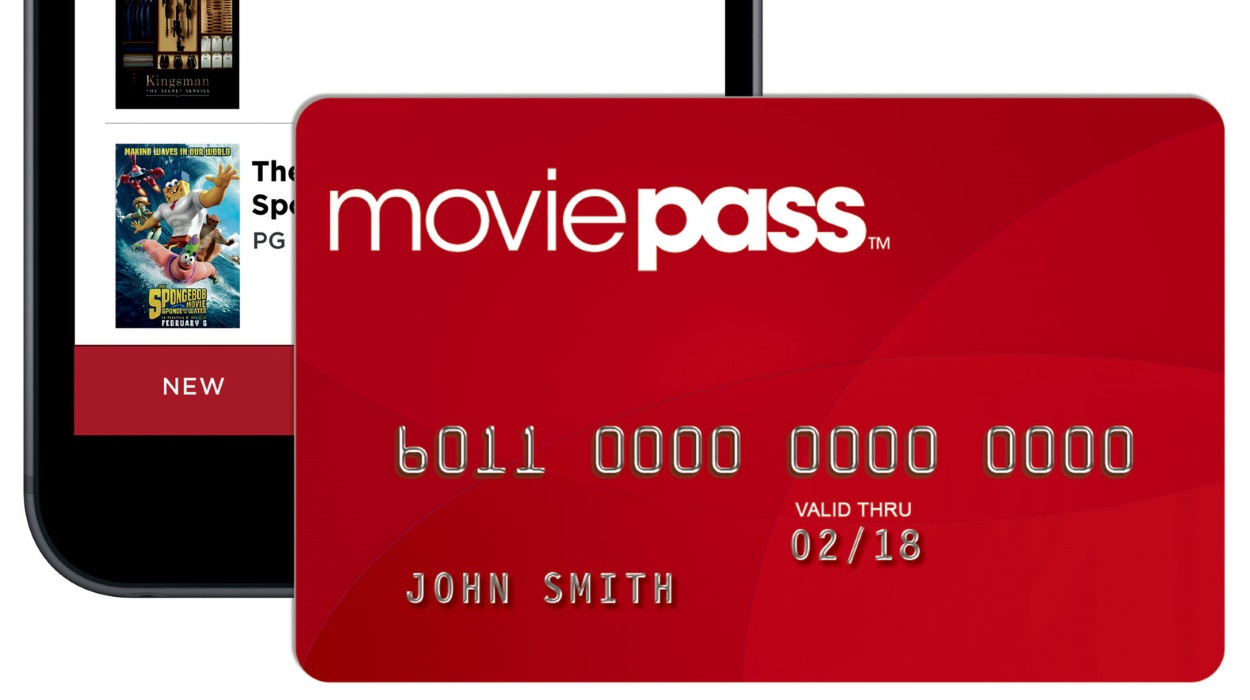 Example of a MoviePass card and the MoviePass app