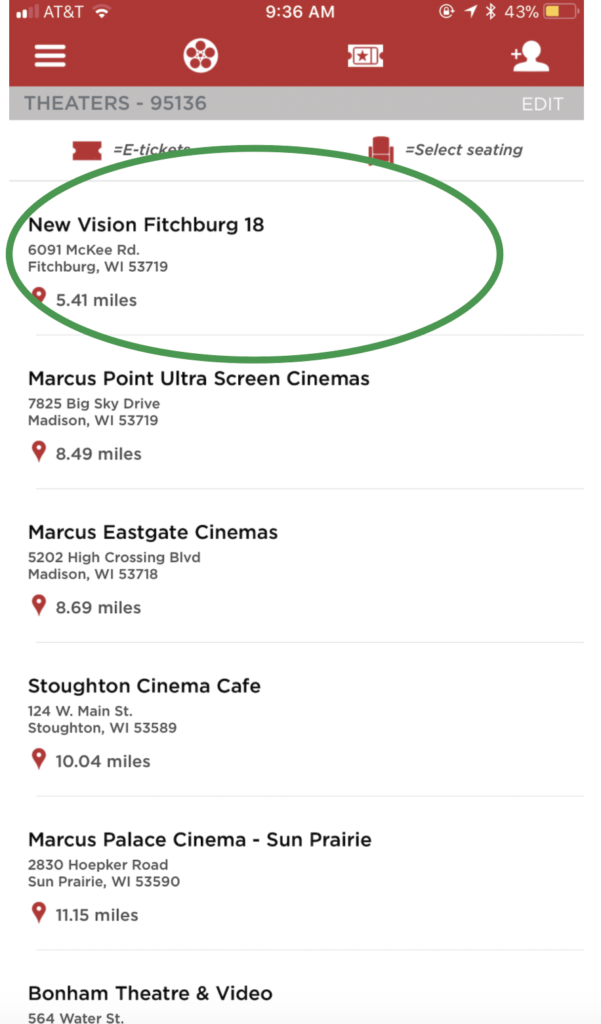 MoviePass Step 1: Choose your an approved movie theater