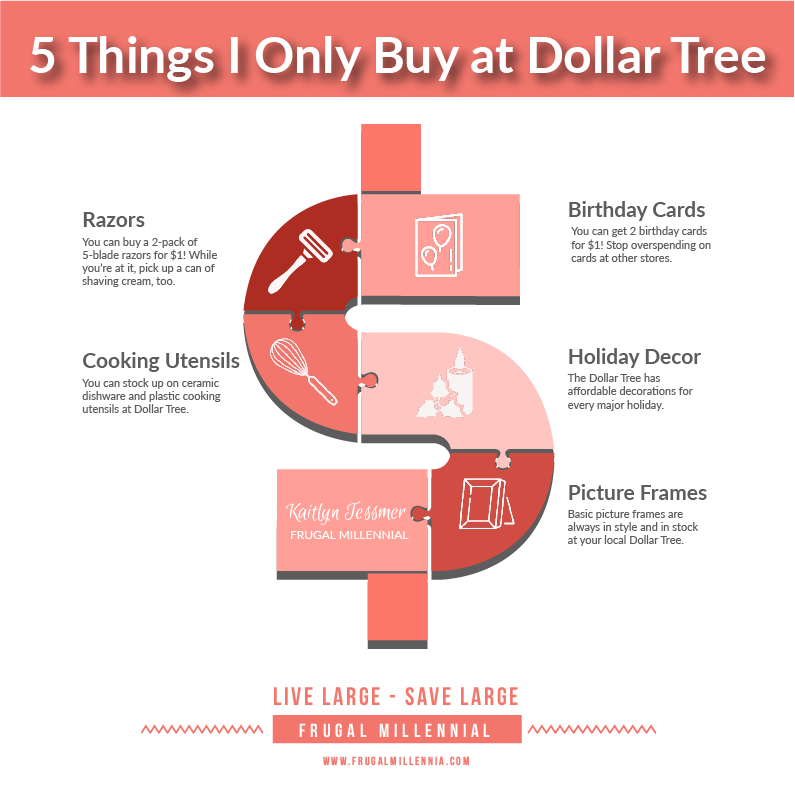www.frugalmillennia.com 5 Dollar Tree Finds Infographic